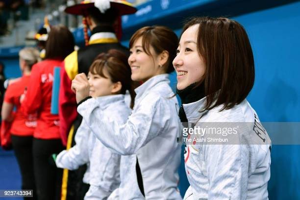 Satsuki Fujisawa and Japan curlers are seen prior to the Curling Womens' bronze Medal match between Great Britain and Japan on day fifteen of the...