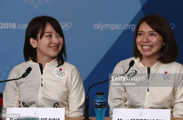 Satsuki Fujisawa and Mari Motohashi of Japan are seen during a Japan Women's Curling team press conference on day sixteen of the PyeongChang 2018...