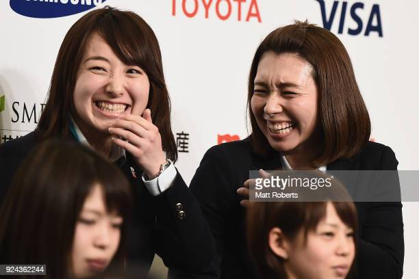 Satsuki Fujisawa and Mari Motohashi share a laugh during the PyeongChang Winter Olympic Games Japan Team press conference on February 26, 2018 in...