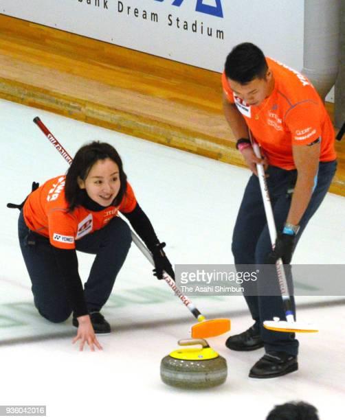 Satsuki Fujisawa and Tsuyoshi Yamaguchi compete on day three of the 11th All Japan Mixed Curling Championship at the Michigin Dream Stadium on March...