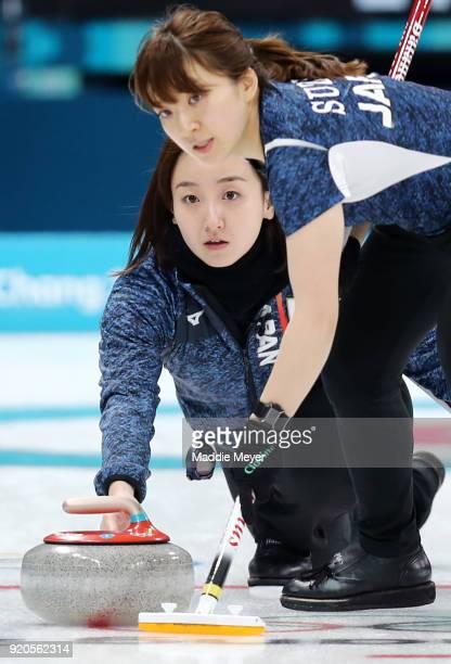 Satsuki Fujisawa casts a stone past Yumi Suzuki of Japan during Women's Round Robin Session 9 on day 10 of the PyeongChang 2018 Winter Olympic Games...