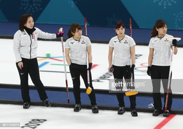 Satsuki Fujisawa Chinami Yoshida Yumi Suzuki and Yurika Yoshida of Japan look on during the Women's Round Robin Session 10 on day eleven of the...