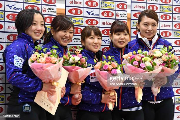 Satsuki Fujisawa, Chinami Yoshida, Yuumi Suzuki, Yurika Yoshida and Mari Motohashi of LS Kitami pose for photographs after Game four of the Japan...