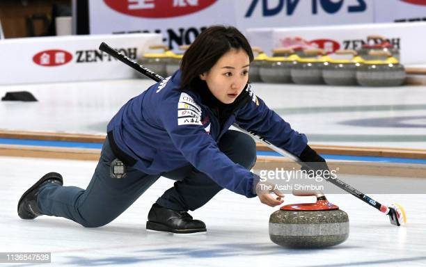 Satsuki Fujisawa delivers the stone in the final on day six of the 12th Japan Mixed Doubles Curling Championship at Karuizawa Ice Park on March 17,...