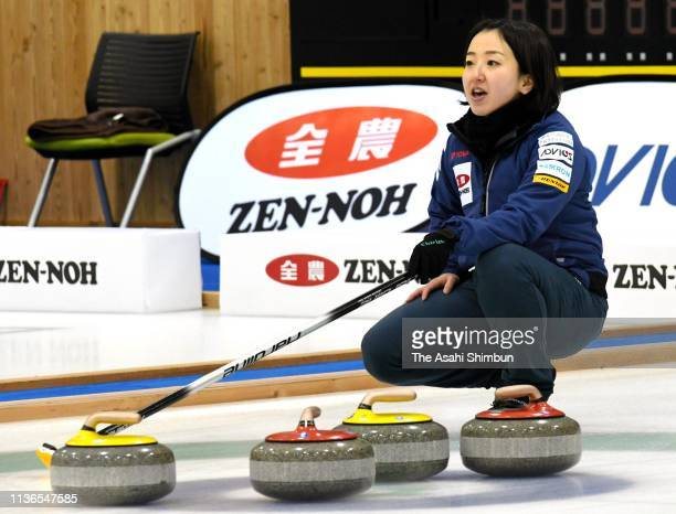 Satsuki Fujisawa gives instruction to Tsuyoshi Yamaguchi during the final on day six of the 12th Japan Mixed Doubles Curling Championship at...