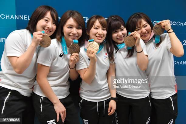 Satsuki Fujisawa Mari Motohashi Yumi Suzuki Yurika Yoshida and Chinami Yoshida pose for photographs during the Women's Gold Medal Game between Sweden...