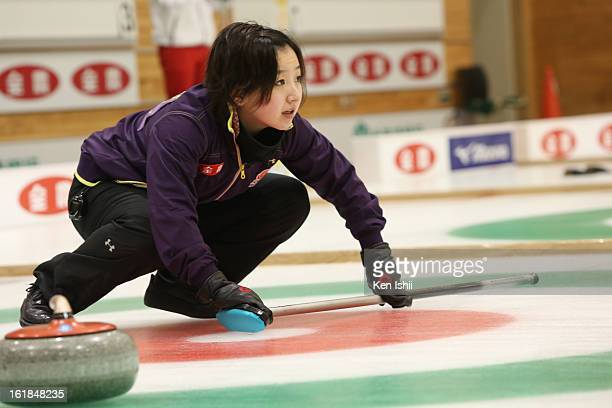 Satsuki Fujisawa of Chubu Electric Power Co in action in the Women's Semifinals during the 30th All Japan Curling Championships at Dogin Curling...