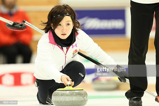 Satsuki Fujisawa of Chubu Electric Power Co. Throws a stone during the last day of qualifier for the Curling Japan Qualifying Tournament at Dohgin...