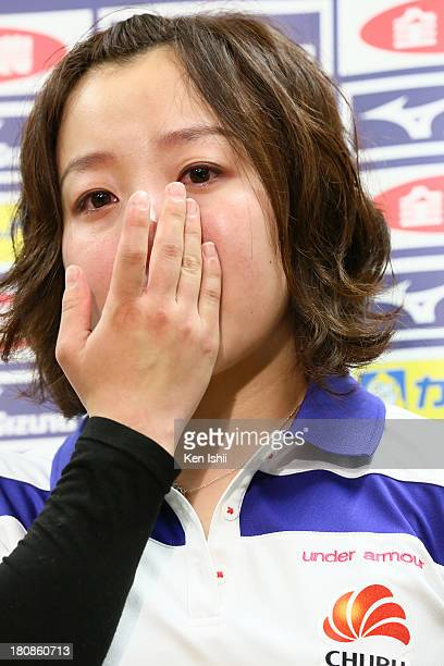 Satsuki Fujisawa of Chubu Electric Power Co wipes away tears as she speaks to the media after losing the Game Four of the Curling Japan Qualifying...