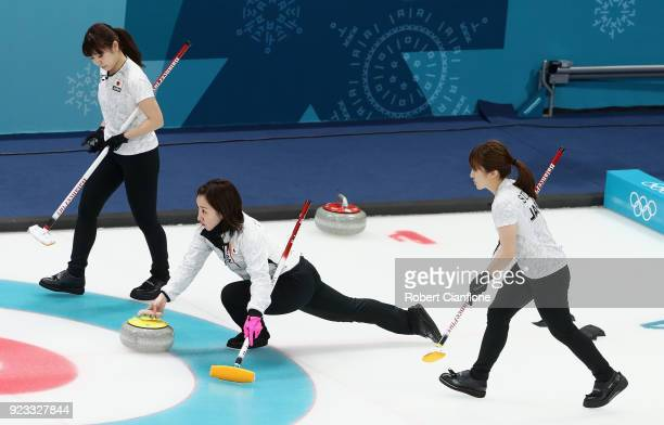 Satsuki Fujisawa of Japan competes during the Women's Semi Final match between Korea and Japan on day fourteen of the PyeongChang 2018 Winter Olympic...