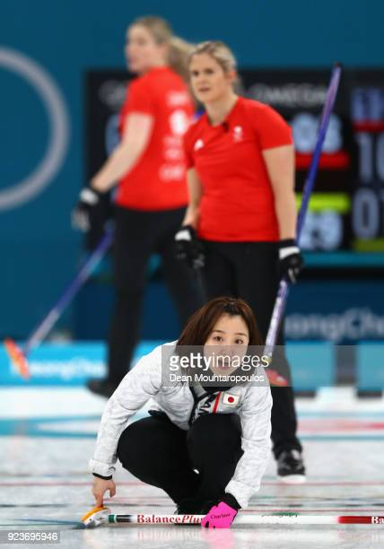 Satsuki Fujisawa of Japan delivers a stone during the Curling Womens' bronze Medal match between Great Britain and Japan on day fifteen of the...
