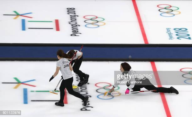 Satsuki Fujisawa of Japan delivers a stone during the Women's Round Robin Session 10 on day eleven of the PyeongChang 2018 Winter Olympic Games at...