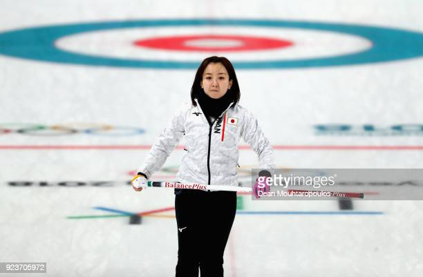 Satsuki Fujisawa of Japan during the Curling Womens' bronze Medal match between Great Britain and Japan on day fifteen of the PyeongChang 2018 Winter...
