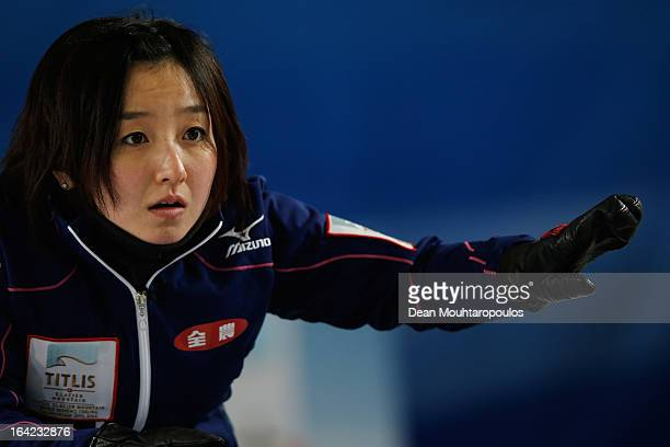 Satsuki Fujisawa of Japan gives instructions to team mates in the match between Japan and China on Day 6 of the Titlis Glacier Mountain World Women's...