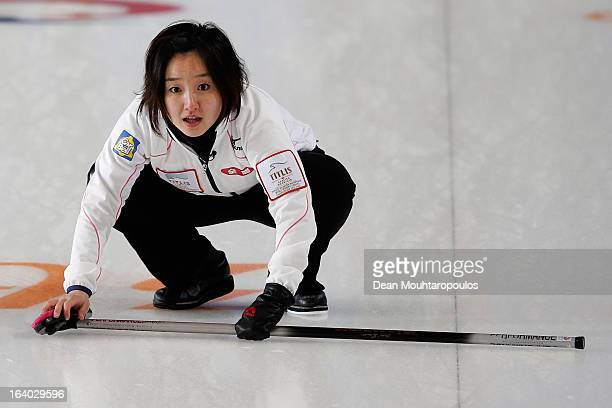 Satsuki Fujisawa of Japan gives team mates instructions in the match between Japan and Italy on Day 4 of the Titlis Glacier Mountain World Women's...