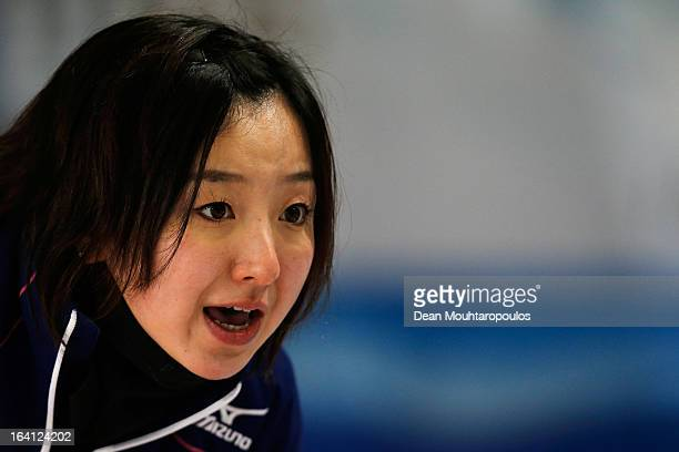 Satsuki Fujisawa of Japan gives team mates instructions in the match between Japan and Sweden on Day 5 of the Titlis Glacier Mountain World Women's...