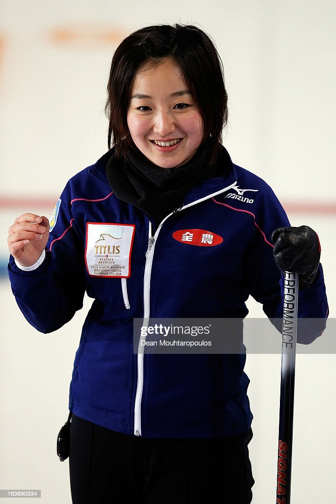 Satsuki Fujisawa of Japan looks in the match between Japan and Latvia during Day 2 of the Titlis Glacier Mountain World Women's Curling Championship at the Volvo Sports Centre on March 17, 2013 in Riga, Latvia.