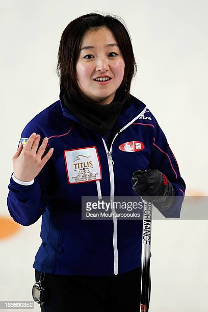 Satsuki Fujisawa of Japan looks in the match between Japan and Latvia during Day 2 of the Titlis Glacier Mountain World Women's Curling Championship...