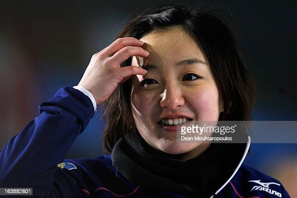 Satsuki Fujisawa of Japan looks on after she releases the stone or rock in the match between Japan and Denmark during Day 2 of the Titlis Glacier...
