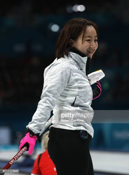 Satsuki Fujisawa of Japan looks on during the Women's Round Robin Session 10 on day eleven of the PyeongChang 2018 Winter Olympic Games at Gangneung...