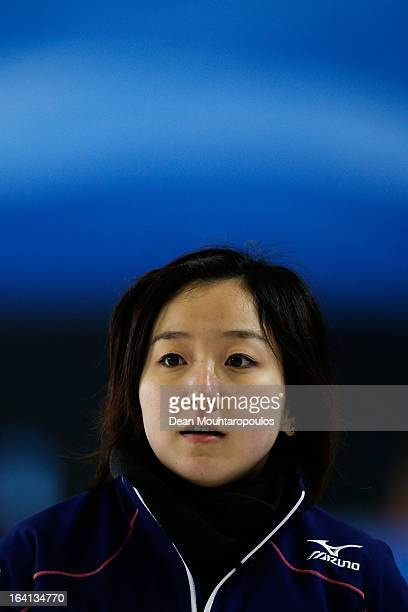 Satsuki Fujisawa of Japan looks on in the match between Japan and Russia on Day 5 of the Titlis Glacier Mountain World Women's Curling Championship...