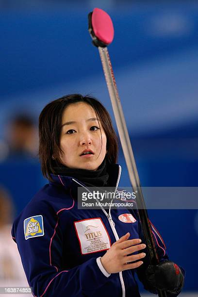 Satsuki Fujisawa of Japan looks on in the match between Japan and Denmark during Day 2 of the Titlis Glacier Mountain World Women's Curling...