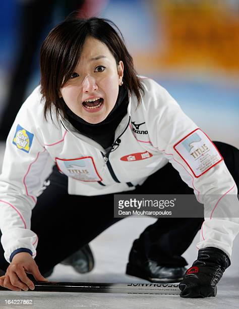 Satsuki Fujisawa of Japan screams instructions to team mates in the match between Japan and Canada on Day 6 of the Titlis Glacier Mountain World...