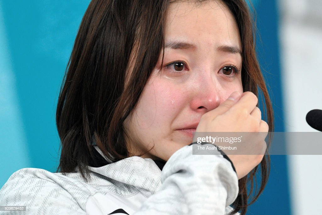 Satsuki Fujisawa of Japan sheds tears during a press conference after her side's defeat in the Women's Semi Final match between South Korea and Japan on day fourteen of the PyeongChang 2018 Winter Olympic Games at Gangneung Curling Centre on February 23, 2018 in Gangneung, South Korea.