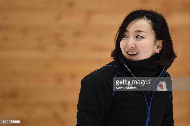 Satsuki Fujisawa of Japan smiles during the preliminary round of the women's curling on day one of the 2017 Sapporo Asian Winter Games at Sapporo...