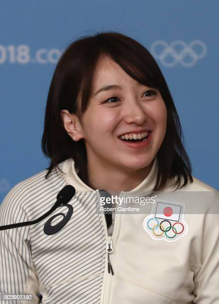 Satsuki Fujisawa of Japan speaks to the media during a Japan Women's Curling team press conference on day sixteen of the PyeongChang 2018 Winter...