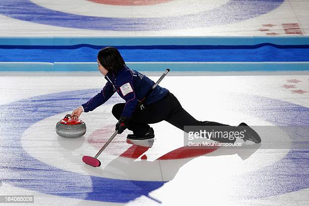 Satsuki Fujisawa of Japan throws the stone in the match between Japan and USA on Day 4 of the Titlis Glacier Mountain World Women's Curling...