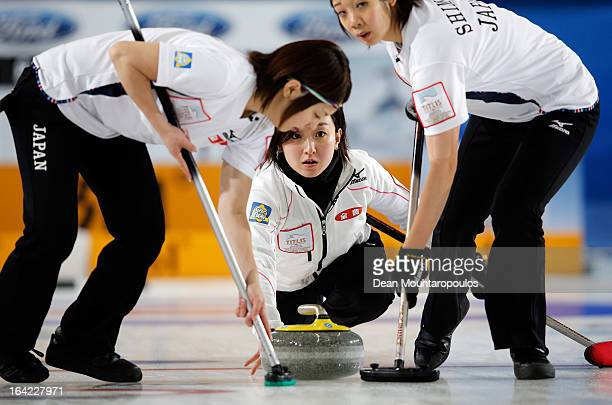 Satsuki Fujisawa of Japan throws the stone in the match between Japan and Canada on Day 6 of the Titlis Glacier Mountain World Women's Curling...