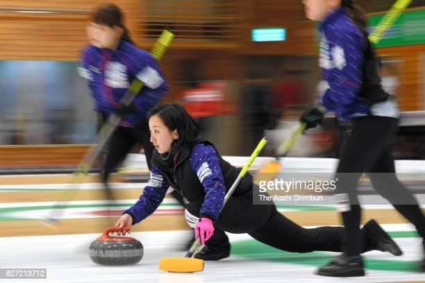 Satsuki Fujisawa of Loco Solare Kitami delivers the stone during the day three of the Hokkaido Bank Curling Classic at Hokkaido Bank Curling Stadium...