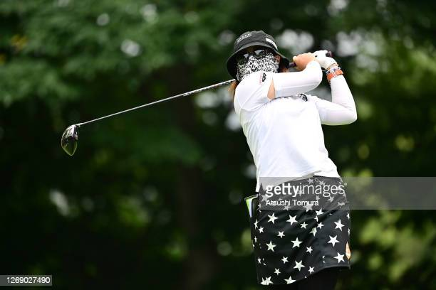 Satsuki Oshiro of Japan hits her tee shot on the 9th hole during the first round of the Nitori Ladies Golf Tournament at the Otaru Country Club on...