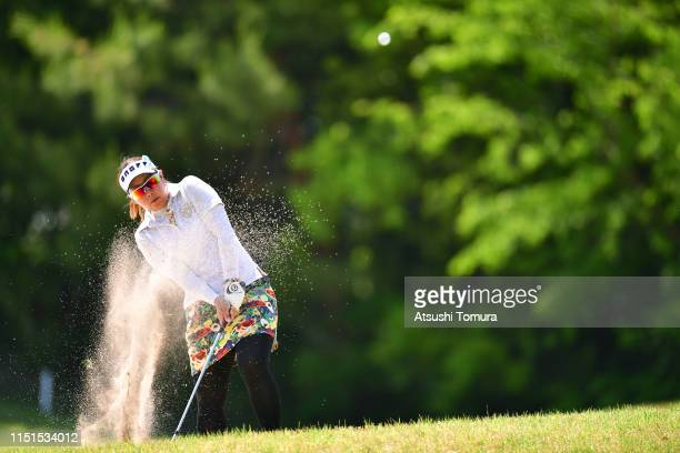 Satsuki Oshiro of Japan hits out from a bunker on the 13th hole during the second round of the Chukyo TV Bridgestone Ladies Open at Chukyo Golf Club...
