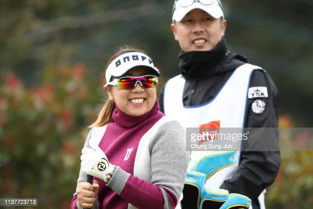 Satsuki Oshiro of Japan smiles on the 2nd hole during the second round of the TPoint x ENEOS Golf Tournament at Ibaraki Kokusai Golf Club on March 23...