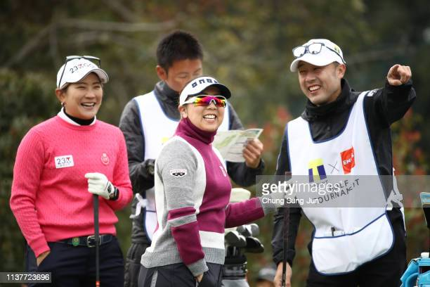 Satsuki Oshiro of Japan smiles with Misuzu Narita of Japan on the 2nd hole during the second round of the TPoint x ENEOS Golf Tournament at Ibaraki...