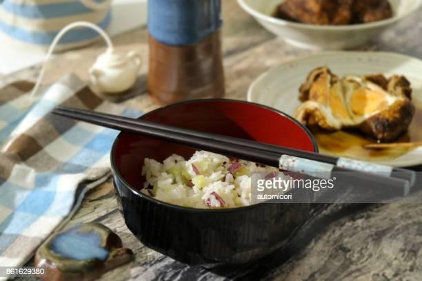 satsuma imo okowa and skin tofu pouched egg - aburaage stock pictures, royalty-free photos & images