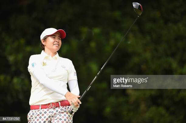 Sattaya of Thailand watches her tee shot on the 2nd hole during the first round of the Munsingwear Ladies Tokai Classic 2017 at the Shin Minami Aichi...