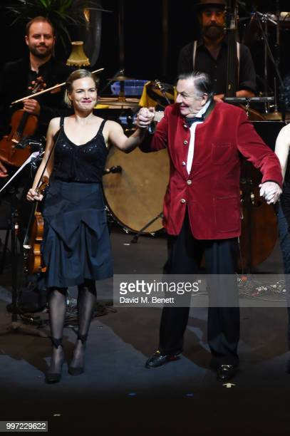Satu Vanska and Barry Humphries bow during the press night performance of 'Barry Humphries' Weimar Cabaret' at The Barbican Centre on July 12 2018 in...