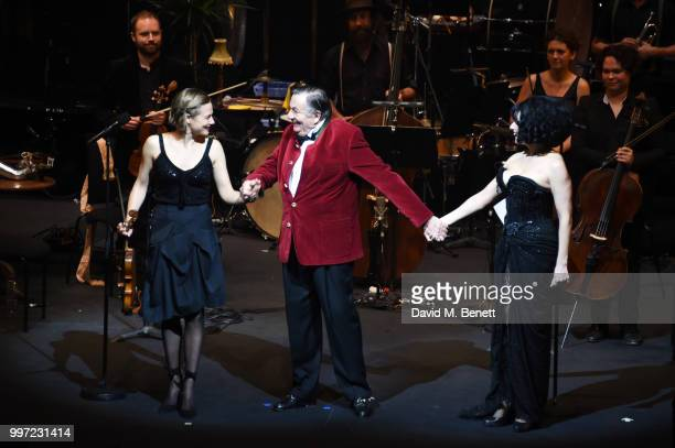 Satu Vanska Barry Humphries and Meow Meow bow during the press night performance of 'Barry Humphries' Weimar Cabaret' at The Barbican Centre on July...