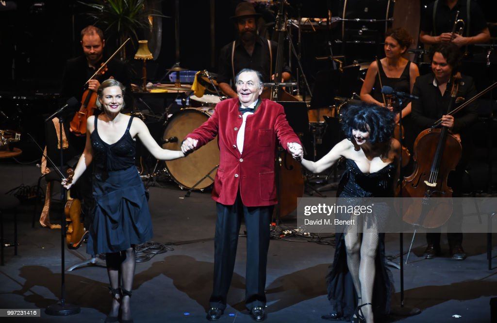 Satu Vanska, Barry Humphries and Meow Meow bow during the press night performance of 'Barry Humphries' Weimar Cabaret' at The Barbican Centre on July 12, 2018 in London, England.