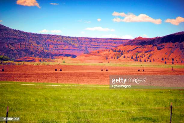 saturated landscape in eastern oregon, usa - glitch art stock photos and pictures