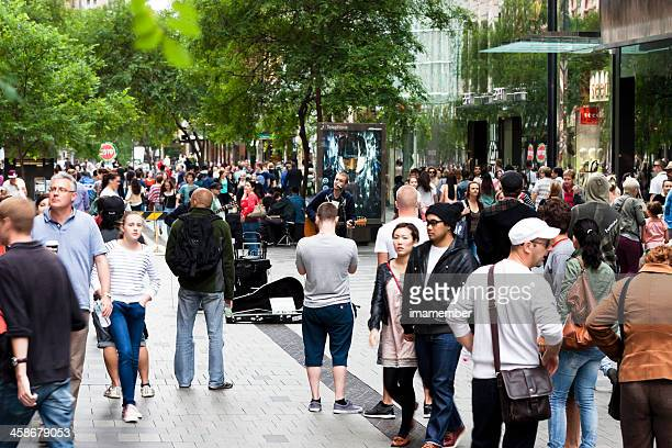 Saturday afternoon on Pitt Street with crowd of people