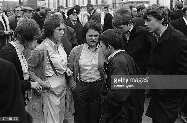 Saturday afternoon outside Chelsea Football Club in London 1970 Fans gather and wait to be let into the stands for a match against Queens Park...