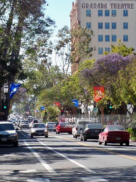 Saturday afternoon traffic on Main Street in downtown Santa Barbara California