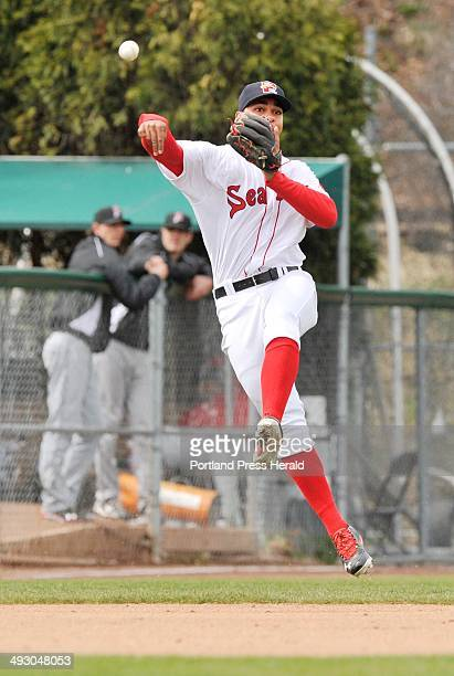 Saturday April 20 2013S=Portland Sea Dogs vs New Britain Rock Cats at Hadlock Field Sea Dog shortstop Xander Bogaerts makes a throw from deep in the...