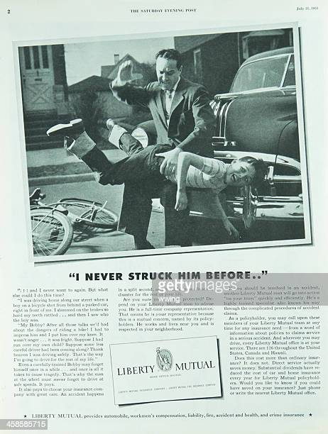 saturday evening post magazine insurance ad - children getting spanked stock photos and pictures