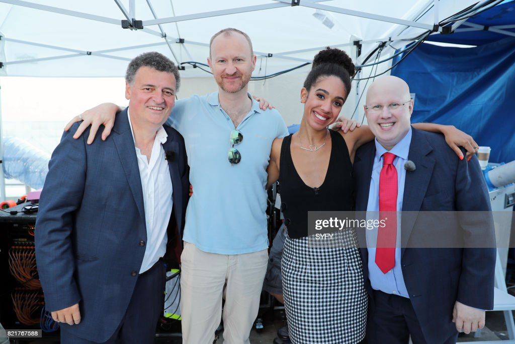 CON -- Saturday, July 22nd, 2017 -- Pictured: (l-r) Steven Moffat, Mark Gatiss, Pearl Mackie, and Matt Lucas --