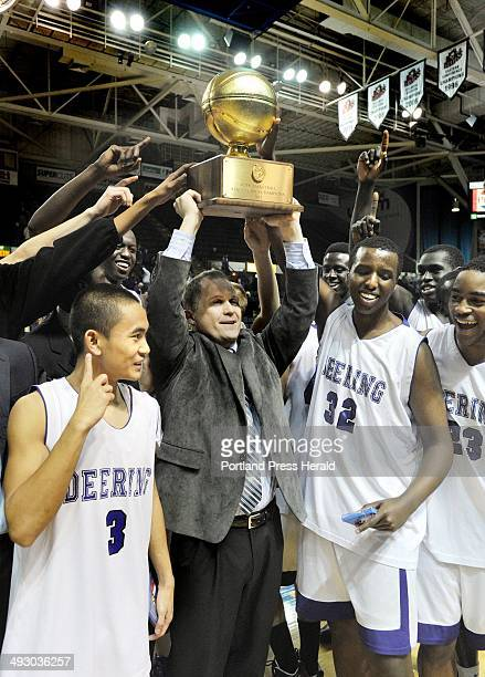 Saturday March 3 2012 Deering vs Hampden Academy boys class A state championship basketball game Deering head coach Dan LeGage holds the state...